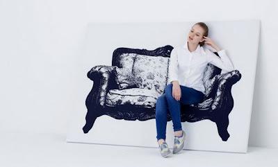 Silla, sillón y sofá que parecen cuadros.