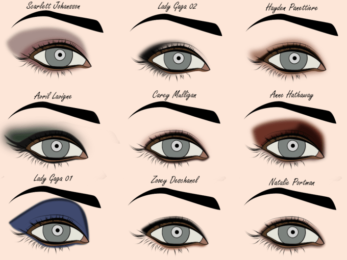 secret makeup diary: eye shadow styles + template - free