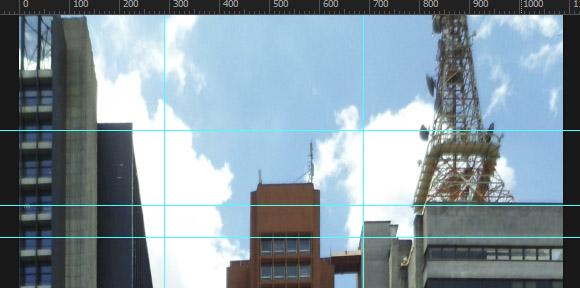 Perspectiva horizontal no topo dos prédios corrigida