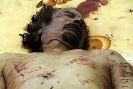The body of Muammar Gaddafi