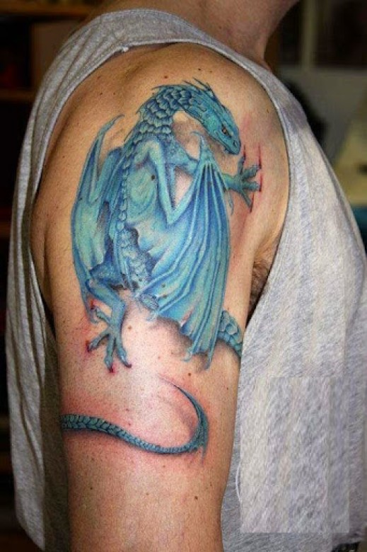 blue color dragon tattoos on arm