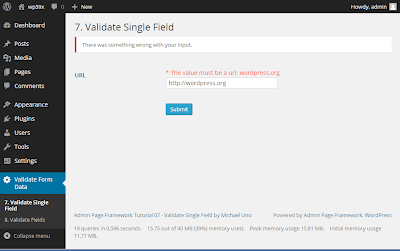 Validating Field of Submitted Form with Admin Page Framework