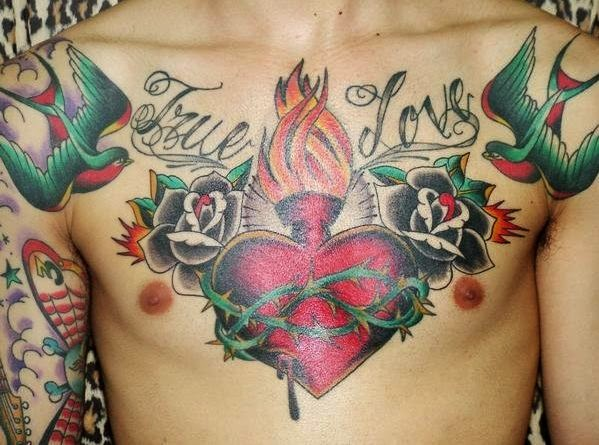 bird rose heart chest tattoos men
