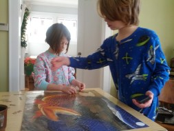 Puzzle making in our PJs