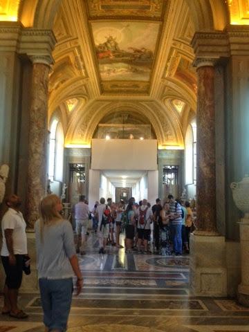 Marble pillared hallways of the Cistine Chapel