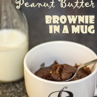 Chocolate And Peanut Butter Brownie In A Mug