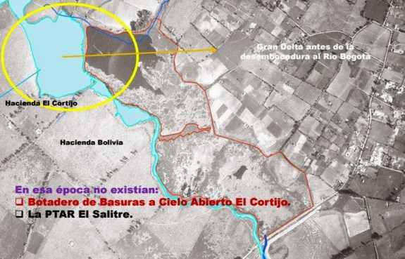 otografía aérea del Río Salitre y del Humedal Juan Amarillo (Tibabuyes) de 1950.