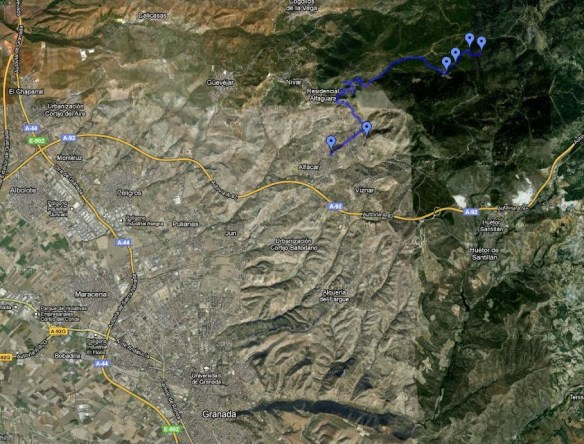 mapa de acceso al sanatorio de la Alfaguara