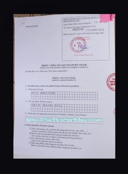 Mặt nạ dưỡng da tái tạo da, phục hồi da và hỗ trợ điều trị da Eva Doctor được cấp giấy chứng nhận của Sở Y Tế TP.HCM. Giấy phép: 002545/ 13/ CBMP - HCM.