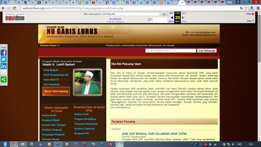 Website Pejuang Islam yang normal (Internet Archive tertanggal 20 Februari 2015)