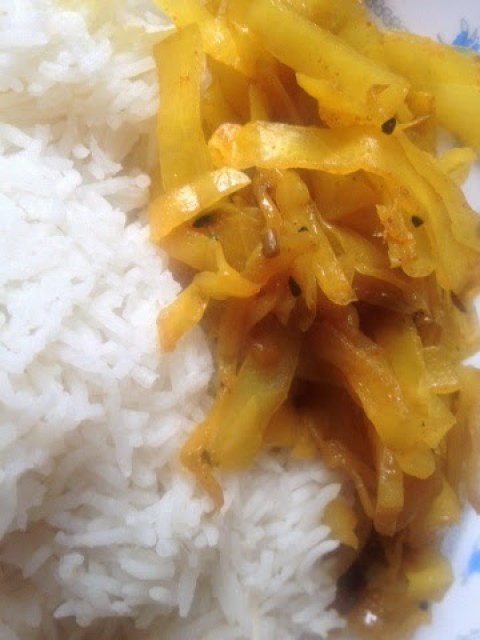 Indian vegetarian dish, cabbage bhaji with rice