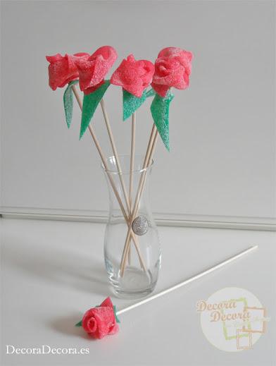 Rosas de regaliz de gominola.
