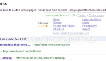 Sitelinks in AkuBiomed's Google Webmaster dashboard