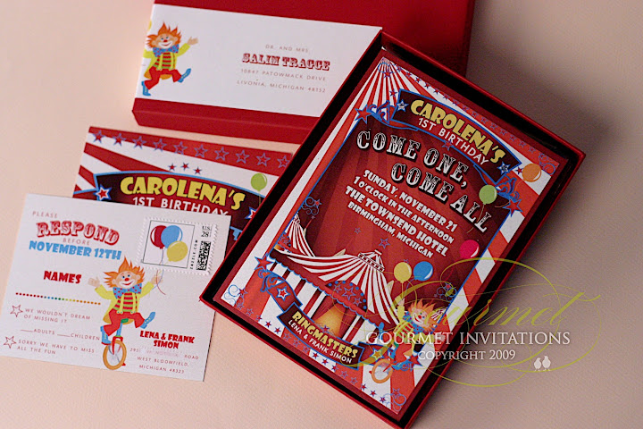 first birthday circus theme invitations