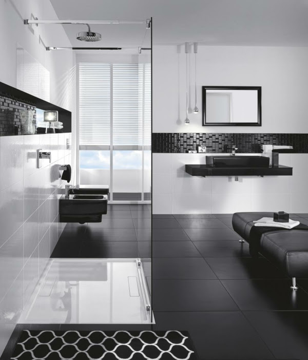 black and white tile designs bathrooms