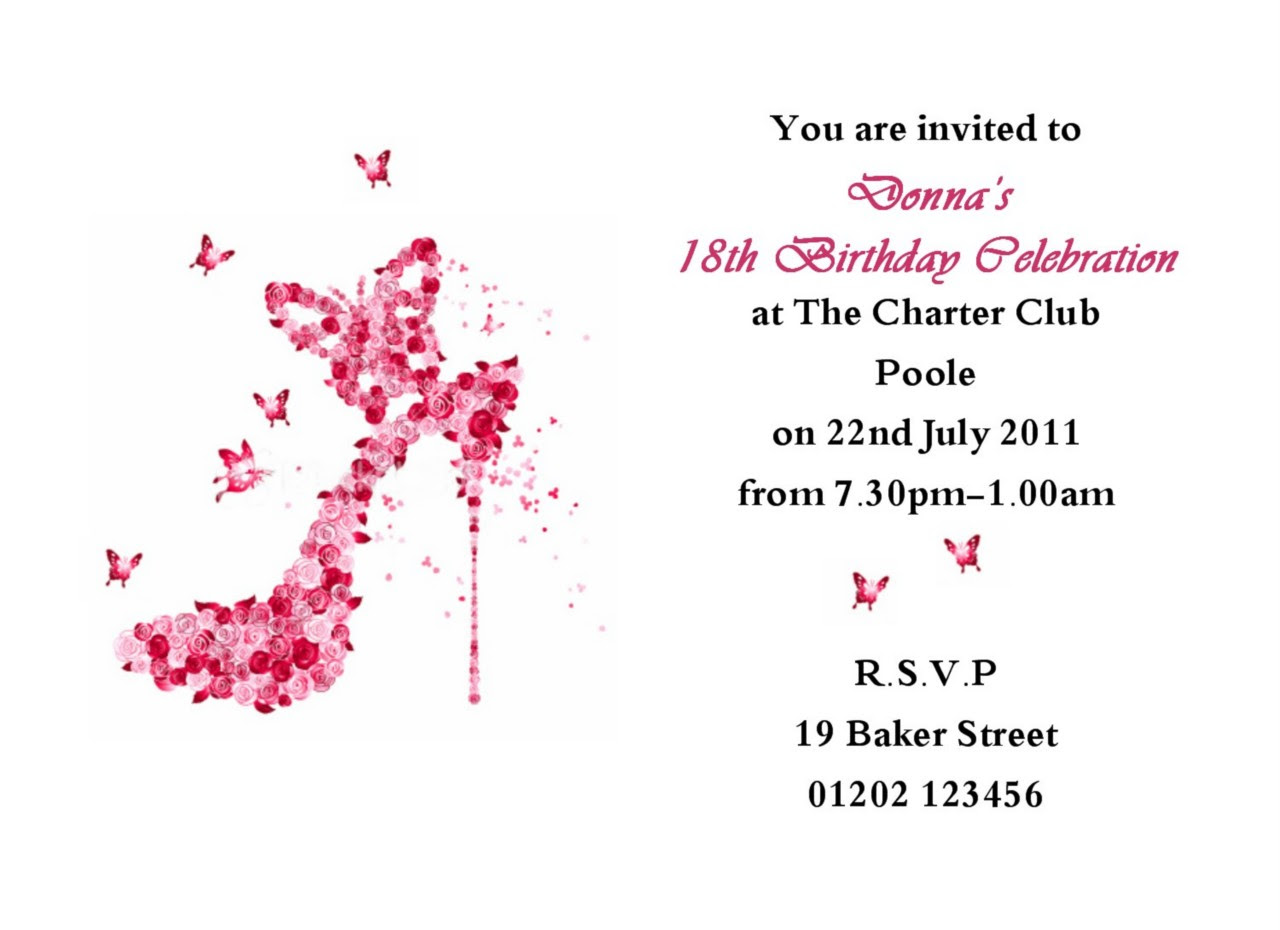 sample invitation letter for 18th birthday
