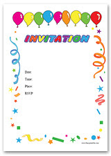 birthday party card template card