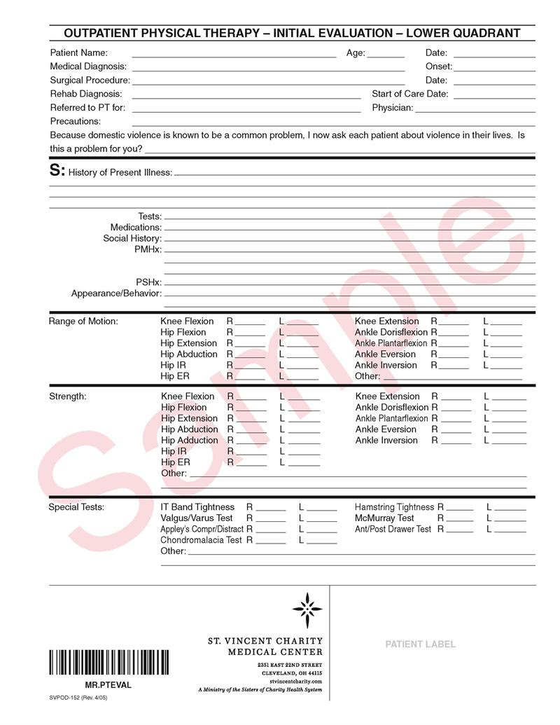 Below are customizable & printable evaluation templates for physical therapists and students. Physical Therapy Evaluation Forms
