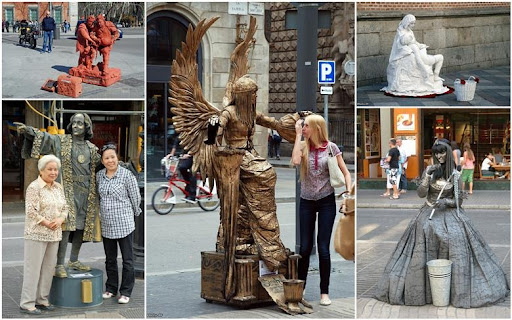 Imagini pentru statui vii rambla spain