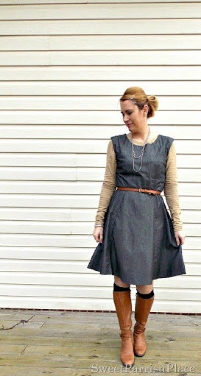 Grey denim dress with brown boots