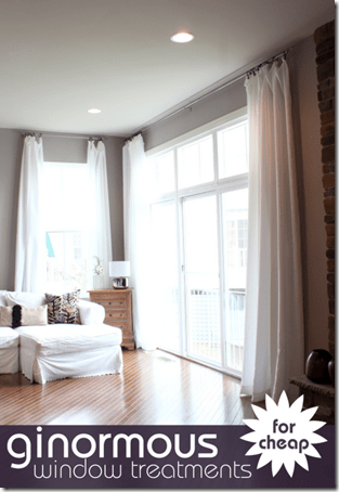 long window treatments from tablecloths for cheap with text