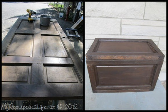 repurposed door into a trunk