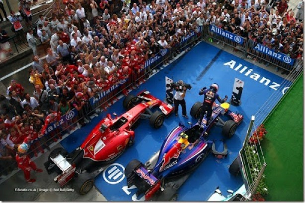 BUDAPEST, HUNGARY - JULY 27:  Daniel Ricciardo of Australia and Infiniti Red Bull Racing celebrates victory in Parc Ferme after the Hungarian Formula One Grand Prix at Hungaroring on July 27, 2014 in Budapest, Hungary.  (Photo by Dan Istitene/Getty Images) *** Local Caption *** Daniel Ricciardo