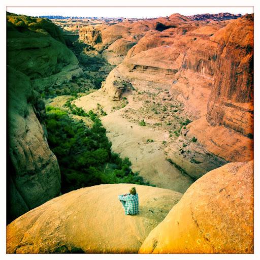 Taking a break on the Slickrock Mountain Bike Trail, Moab, Utah