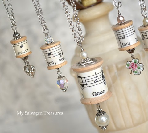 spool necklace repurposed lamp