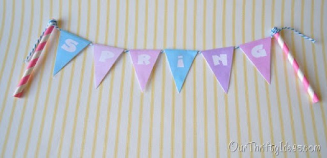 """cute """"spring"""" banner to spruce up cupcakes or a cake. Free printable of the banner too."""
