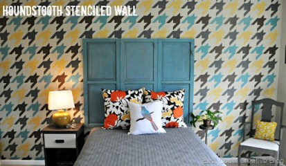 Modern Houndstooth Stenciled Wall - East Coast Creative
