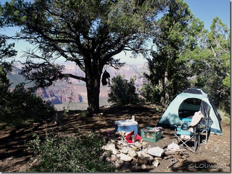 Campsite on the rim at Fence Point Kaibab National Forest Arizona