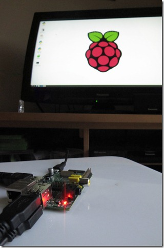 Raspberry Pi connected to the TV