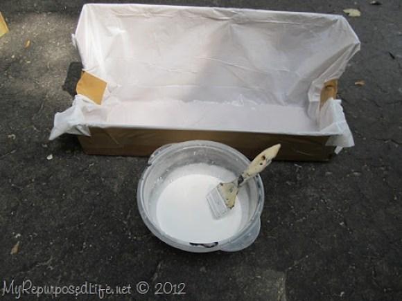 whitewash trough from a cardboard box