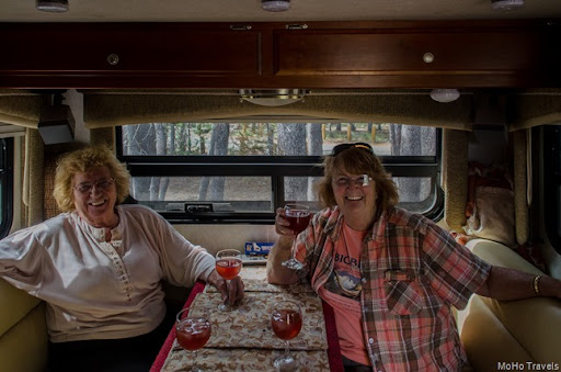 Mo and Sue enjoying Gayle's famous cosmos at Medicine Lake