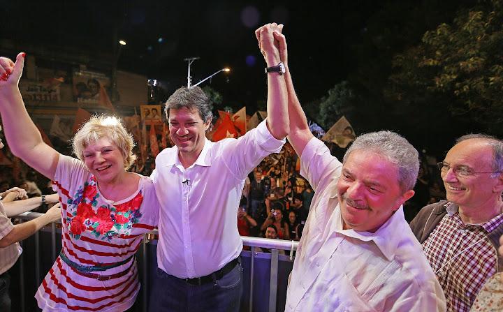 No Capão Redondo: Marta Suplicy, Fernando Haddad e Lula em comício no Capão Redondo. Foto: Ricardo Stuckert/Instituto Lula
