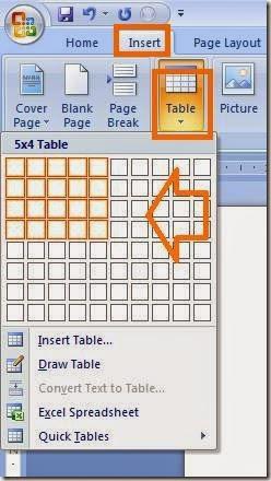 membuat table dengan mudah di microsoft office word