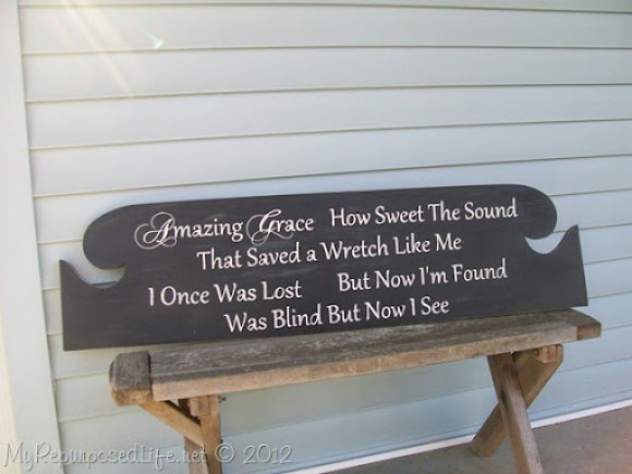 Amazing Grace sign from headboard