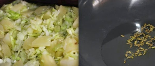 Cabbage Aloo Fry step 2