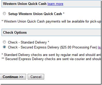 change Adsense payment method
