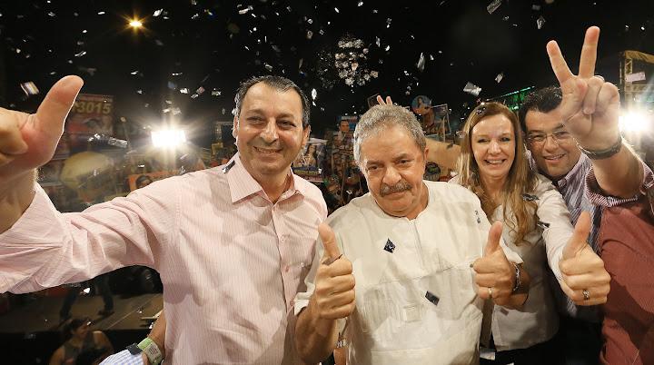 O governador amazonense Osmar Aziz, Lula e Vanessa Grazziotin, candidata à prefeitura de Manaus pelo PCdoB Foto: Ricardo Stuckert/Instituto Lula