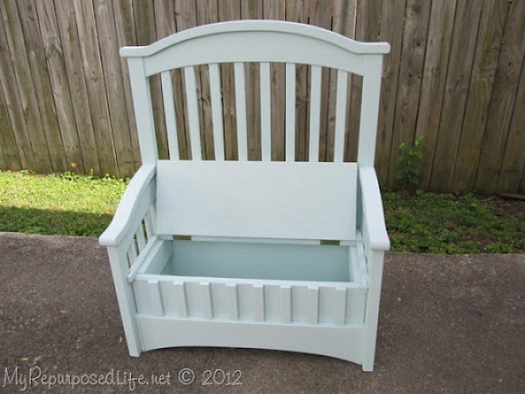 upcyle a crib-toy box bench