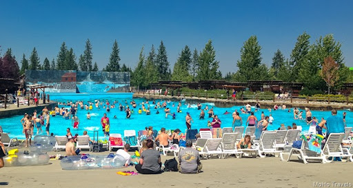 waiting for the waves at Boulder Beach Water Park at Silverwood