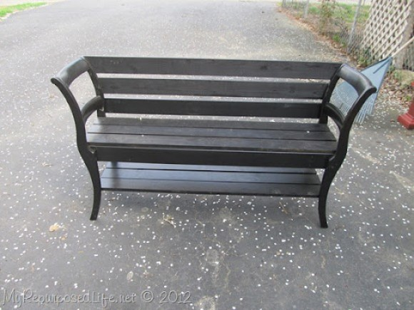 black double chair bench MyRepurposedLife.com