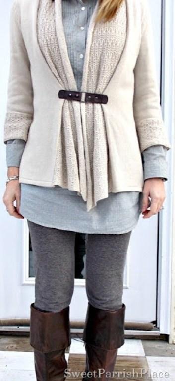Grey leggings, blue tunic, tan cardigan, brown boots4