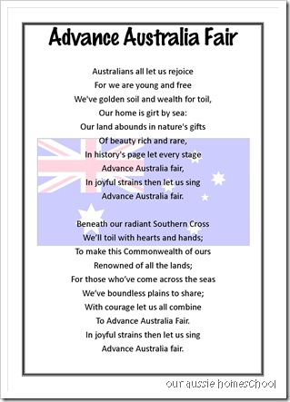 Our Aussie Homeschool ~ Advance Australia Fair- free printable