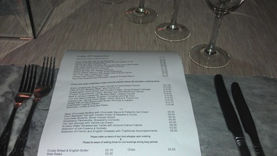 Extensive menu at the Finch's Arms