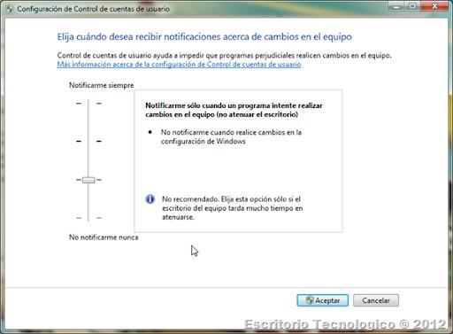 Configuración de Control de cuentas de usuario 1