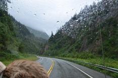 rainy morning as we backtrack up Keystone Canyon from Valdez