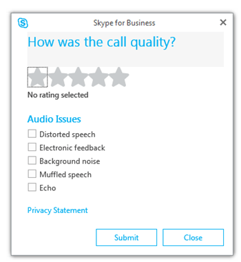 call quality rating